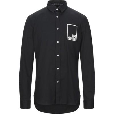 モスキーノ LOVE MOSCHINO メンズ シャツ トップス solid color shirt Black