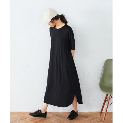 【コムサイズム】 Tシャツ ワンピース レディース ブラック L COMME CA ISM
