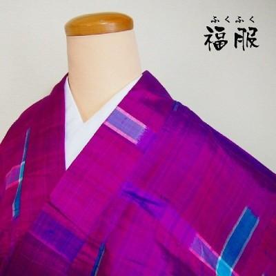 (中古)紬 正絹 臙脂地に絣文様 アンティーク紬単衣着物 Sサイズ(浅草店在庫)リサイクル