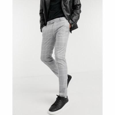 トップマン Topman メンズ スラックス ボトムス・パンツ Skinny Smart Trousers With Light Grey Check グレー