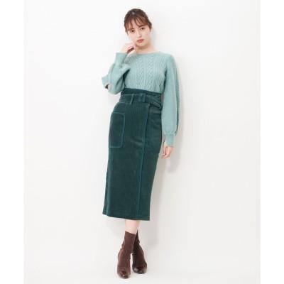 シュープリームララ Supreme.La.La. ワイドコールパイピングスカート (グリーン)