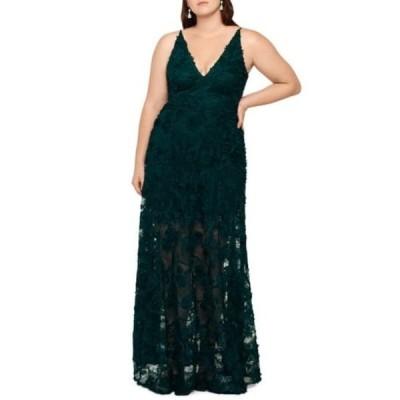 エスケープ レディース ワンピース トップス 3D Lace A-Line Gown (Plus Size) HUNTER