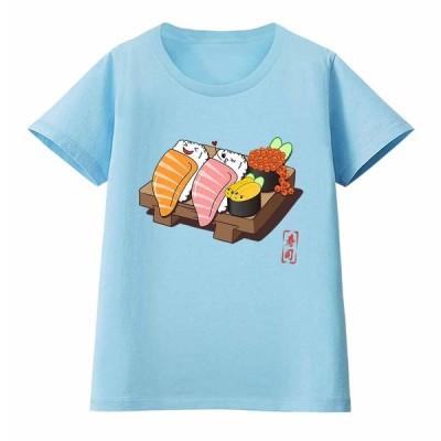 【楽しそうな 寿司 すし いくら ウニ】レディース 半袖 Tシャツ by Fox Republic