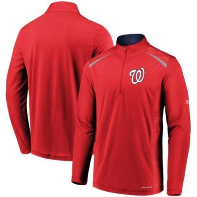 ワシントン・ナショナルズ Majestic Perfect Movements Cool Base Quarter-Zip Pullover ジャケット - Red
