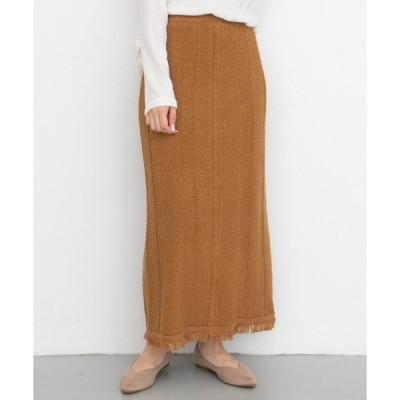 スカート タイトフリンジニットスカート