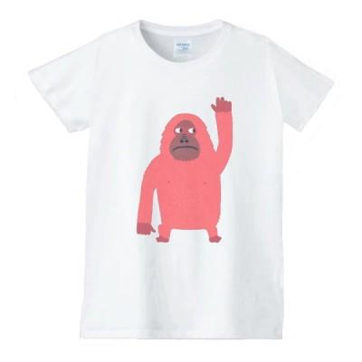 ゴリラ 動物生き物 Tシャツ 白 レディース 女性用 jd144