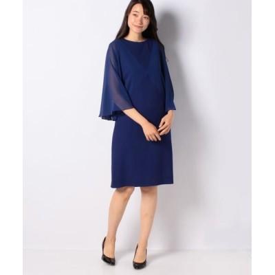pierre cardin/ピエール ・カルダン カラミ織り×シフォン ストレートラインドレス ブルー 40