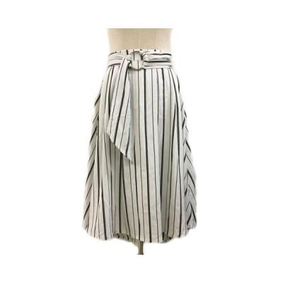 【中古】ルーミィーズ Roomy's スカート フレア ロング ストライプ フィッシュテール ベルト付き F 白 黒 ホワイト ブラック レディース 【ベクトル 古着】