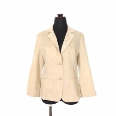 【中古】ケーティーリノ K.T.LINO リネン テーラードジャケット ブレザー 衿レース 刺繍 七分袖 11 ベージュ 薄茶