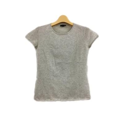 【中古】セオリー theory カットソー Tシャツ クルーネック 無地 半袖 2 グレー レディース 【ベクトル 古着】
