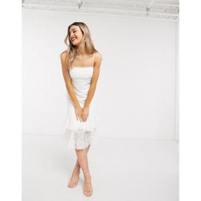 フォーエバーニュー ミディドレス レディース Forever New lace midi dress with tiered hem in white エイソス ASOS ホワイト 白