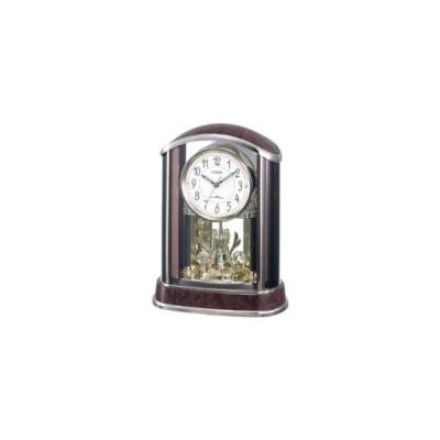 リズム時計工業 CITIZEN (シチズン) 電波 置き 時計 パルアモールR658N クリスタル 飾り 茶 (木目仕上げ) 4RY658-N23