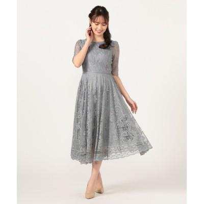 ドレス パネルレースロングドレス