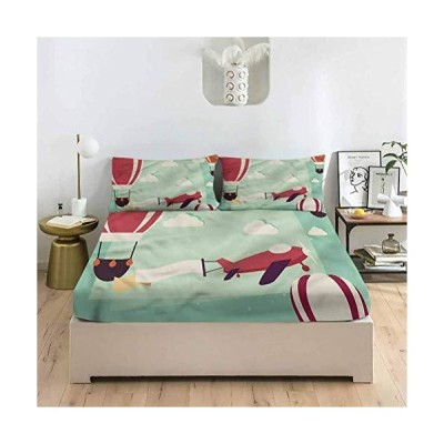 LCGGDB Travel King Size Bed Fitted Sheet Set,Holiday Summer House Flowers Deep Pockets Fitted Sheet with 2 Pillowcase,Print Fitted Sheet Set for Women