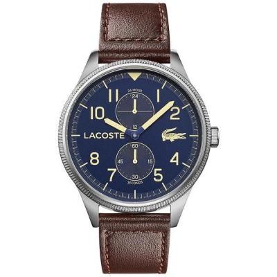 ラコステ 腕時計 アクセサリー レディース Men's Continental Brown Leather Strap Watch 44mm Brown