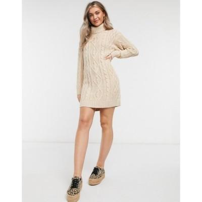 ブレーブソウル レディース ワンピース トップス Brave Soul reni cable knit sweater dress with roll neck