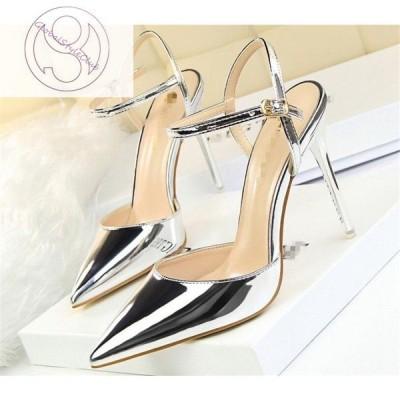 パンプス ピンヒール 結婚式 パーティ アンクルストラップパンプス お呼ばれ 通勤 脱げない フォーマル ハイヒール 靴 シューズ ポインテッドトゥ 10.5cm