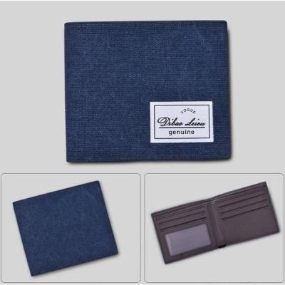 二つ折り 財布 小銭入れなし カード収納 メンズ PU レザー ブラック 無地 薄型 軽量 無地 キャンバス生地 夏 父の日