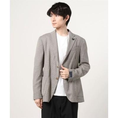 ジャケット テーラードジャケット LARDINI:コットン/ウール/ポリエステル 千鳥格子 シングル3ボタン ジャケット