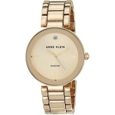 アンクライン レディース用腕時計 Anne Klein Women's AK/1362CHGB  Diamond Dial Gold-Tone Bracelet Watch
