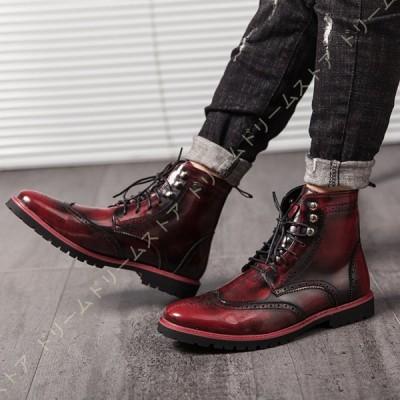 メンズ ビジネスシューズ ショートブーツ 大きいサイズ チャッカーブーツ レースアップ ビジネスシューズ 男性 長靴 おしゃれ 革靴 紳士靴 防滑 カジュアル