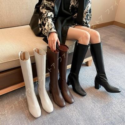 ロングブーツ レディース ブーツ ロング ジョッキーブーツ 黒 ローヒール スリム 履き口 ふくらはぎ ゆったり ブーツ 履きやすい ワイズ 幅広 3E 筒周り