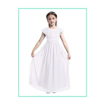 MSemis Girls Flutter Sleeves Chiffon Bridesmaid Dress Princess Wedding Party Prom Gown Flower Girl〓〓? Dresses White 8並行輸入品