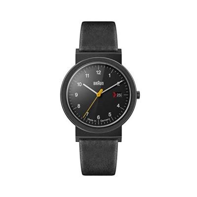 (輸入品)Braun Unisex 3-Hand with Date Analogue Swiss-Part Quartz Watch, Made in Germany, Black Dial and Black Leather Strap, 39mm Black Stainle