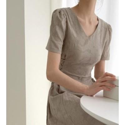 韓国 ファッション レディース ワンピース ロング レースアップ Vネック ハイウエスト 半袖 無地 きれいめ シンプル 上品 大人可愛い