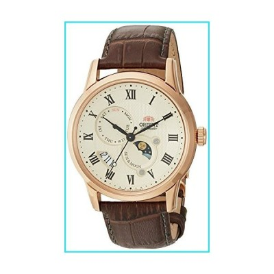 Orient Men's Sun and Moon Version 3 Stainless Steel Japanese-Automatic Watch with Leather Calfskin Strap, Brown, 22 (Model: FAK00001Y0)【