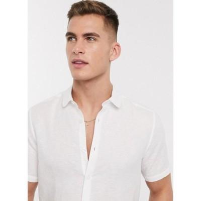 エイソス ASOS DESIGN メンズ シャツ トップス regular fit smart linen shirt with penny collar in white ホワイト