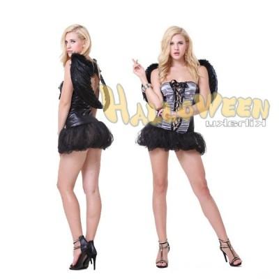 黒い天使 悪魔エンジェル ドレス コスプレ衣装 大人用 ハロウィン仮装 コスチューム