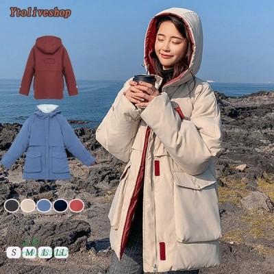 コート レディース ダウン風コート アウター 暖かい フード ロング ロングコート 秋 大きいサイズ中綿 冬 防寒