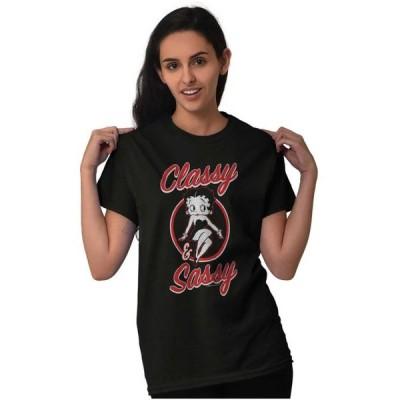 レディース 衣類 トップス Vintage Ladies TShirts Tees T For Women Rock And Roll Betty Boop Classy Sassy Tシャツ