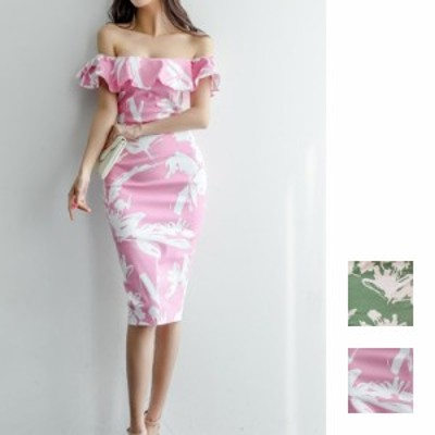 韓国 ファッション レディース ワンピース パーティードレス ひざ丈 ミディアム 夏 春 パーティー ブライダル naloG066 結婚式 お呼ばれ