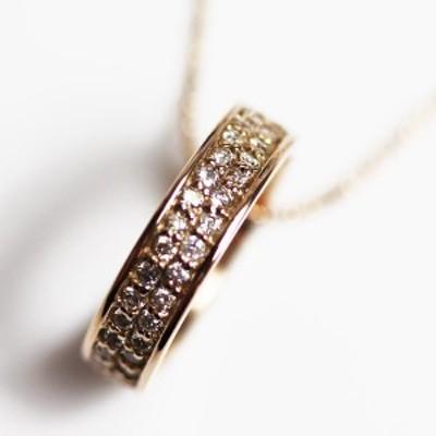 【MN2465】★K18PG ピンクゴールド ダイヤモンドネックレス D0.44 3.5g 39.5cm ★【中古】【美品】【質屋出品】
