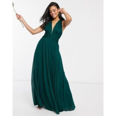 エイソス レディース ワンピース トップス ASOS DESIGN Bridesmaid ruched bodice drape maxi dress with wrap waist Forest green