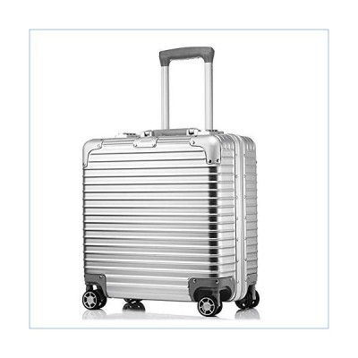 Aluminum Framed Suitcase Rolling Briefcase Compact 4 Wheel Brief Case Laptop Bag Traveling Carry On Luggage Built-in TSA Lock (18 Inch,Sliver)並行