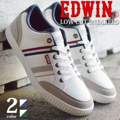 EDWIN エドウィン スニーカー メンズ ローカット カジュアル 軽量 屈曲 防滑 カップインソール クッション コンフォート サイドライン 靴 メンズシューズ