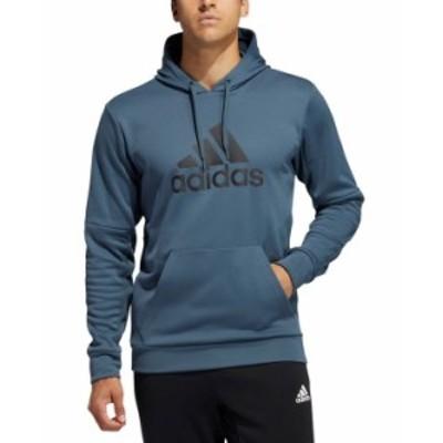 アディダス メンズ パーカー・スウェット アウター Men's Badge of Sport Game and Go Pullover Hoodie Legacy Blue