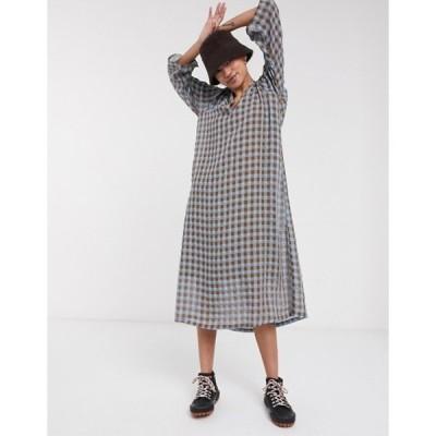 セレクティッド レディース ワンピース トップス Selected Femme midi dress with v neck in textured check