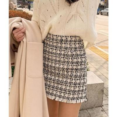 MIXXMIX レディース スカート Frayed Hem Tweed Mini Skirt