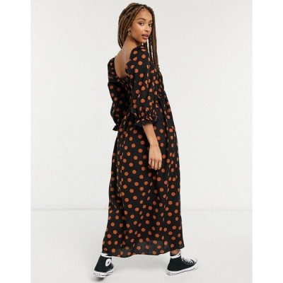 エイソス レディース ワンピース トップス ASOS DESIGN shirred cotton maxi dress in polka dot Black/rust dots