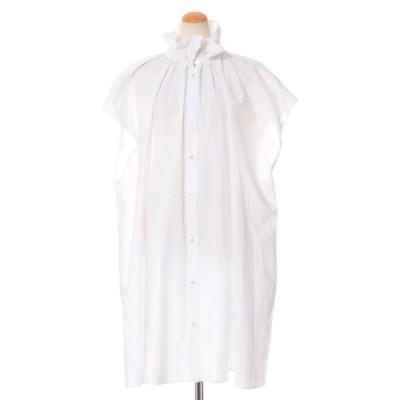 エムエムシックス メゾンマルジェラ MM6 MAISON MARGIELA シャーリング襟ロングブラウス コットン ホワイト