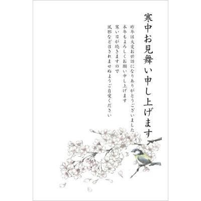 5枚入り 寒中見舞い/余寒見舞いハガキ(桜と小鳥) ポストカード