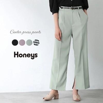 ベルト付ストレートパンツ WEB限定LLサイズ有 Honeys レディース SALE パンツ