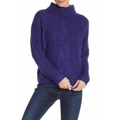 ファッション トップス Elodie NEW Blue Womens Size Large L Turtleneck Mock Cable Knit Sweater #747