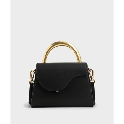 バッグ ハンドバッグ ツートーンアンギュラーフラップバッグ / Two-Tone Angular Flap Bag
