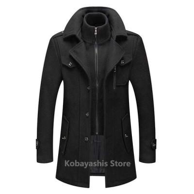 チェスターコート メンズ ウールコート ビジネスジャケット 厚手 通勤 防寒 高級感 ショートジャケット トレンチコート 紳士服 男性用コート 通勤用