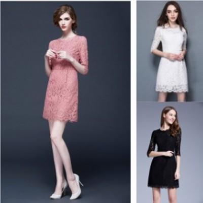 ミニドレス パーティードレス タイトスカート ミニ ドレス ワンピース 袖あり 五分袖 総レース 大きいサイズ